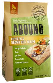 Abound chicken and brown rice dog food