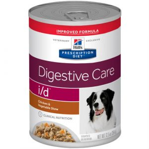 A 12.5 oz can of Hill's Prescription Diet Digestive Care Chicken & Vegetable Stew canned dog food