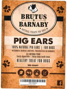 Brutus & Barnaby 100 count package label of natural pig ears