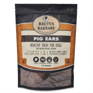 Brutus & Barnaby 12 count package label of natural pig ears