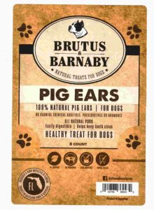 Brutus & Barnaby 8 count package label of natural pig ears