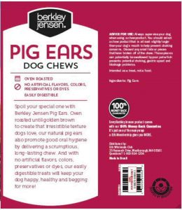 Back package of Berkley & Jensen pig ears dog chews