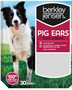 Front package of Berkley & Jensen pig ears dog chews