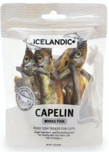 Front package of the IcelandicPlus Whole Capelin Fish Pet Treats for cats
