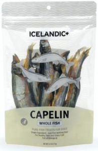 Front package of the IcelandicPlus Whole Capelin Fish Pet Treats for dogs