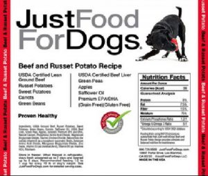JustFoodForDogs beef and russet potato product label