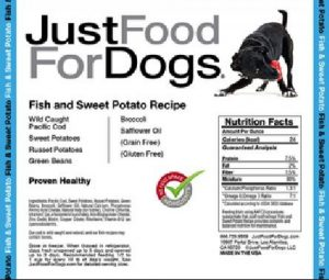 JustFoodForDogs fish and sweet potato product label