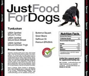 JustFoodForDogs turducken product label