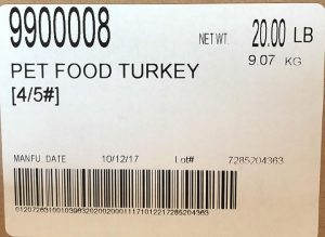 Raws for Paws Turkey Pet Food label with lot number 7285204363