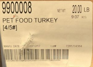 Raws for Paws Turkey Pet Food label with lot number 7285204364