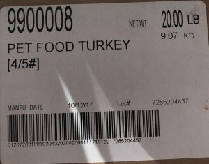 Raws for Paws Turkey Pet Food label with lot number 7285204437