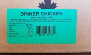 Carnivora Whole Animal Chicken Dinner With Vegetables 'N' Fruit label