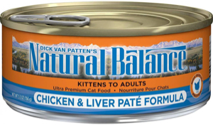 Natural Balance ultra premium chicken and liver paté formula cat food can front label