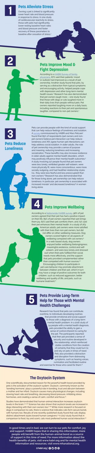 An infographic on the top 5 mental health benefits of having a pet