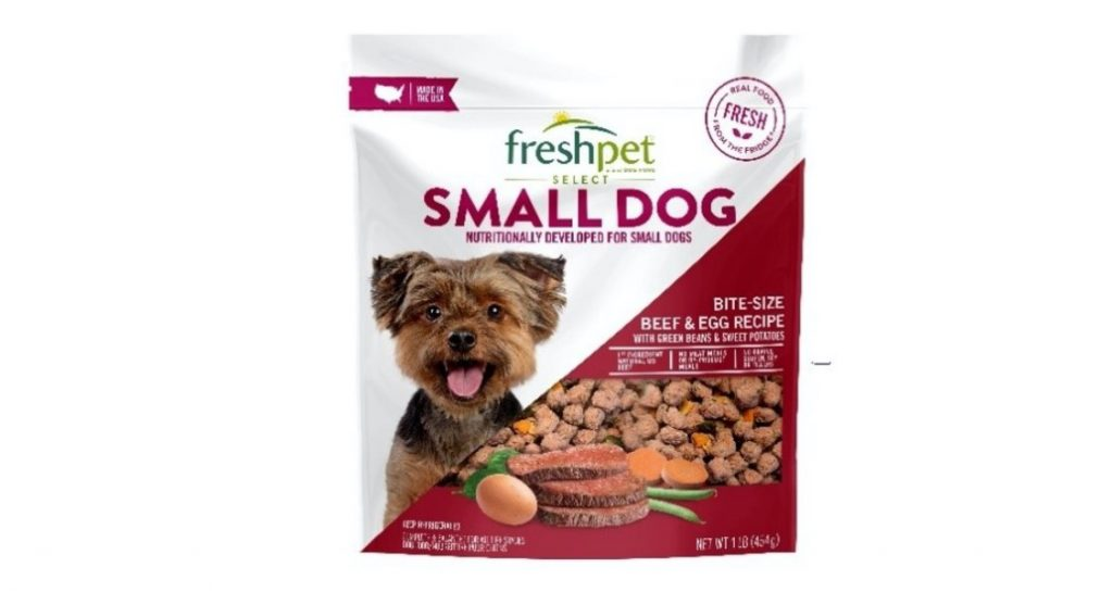 Freshpet Select Small Dog Bite Size Beef & Egg Recipe Dog Food (1 LB bags) front label